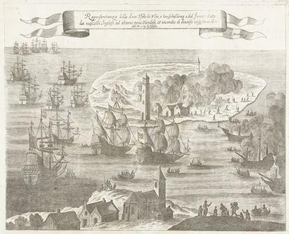 tekening van Willem van de Velde over ramp van 1666, waarbij schepen op de rede in brand werden gestoken door de Engelsen