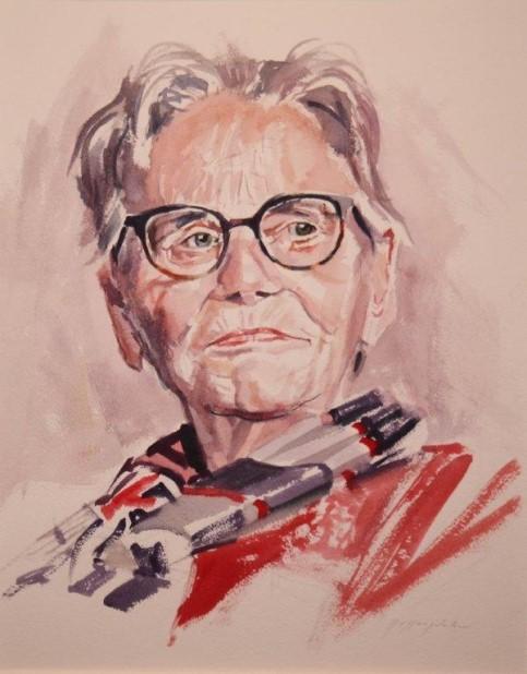 Geschilderd portret van Annie de Wit-Bakker