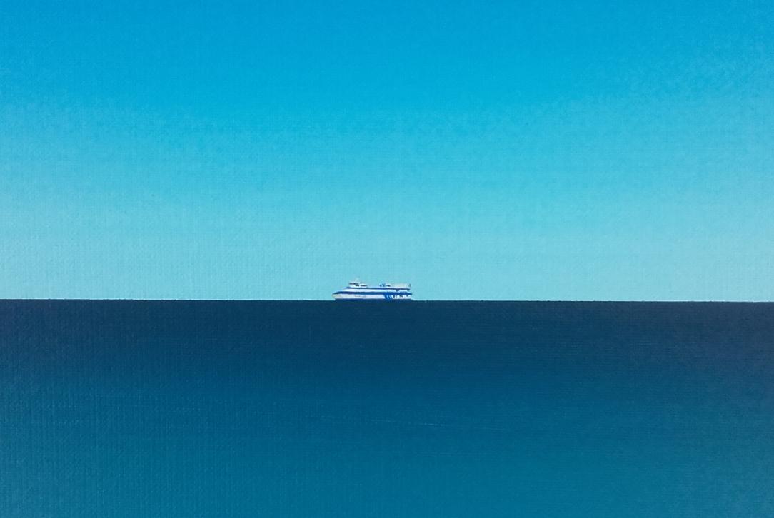 Uitsnede van schilderij met de veerboot van Vlieland geschilderd door Michael Horn