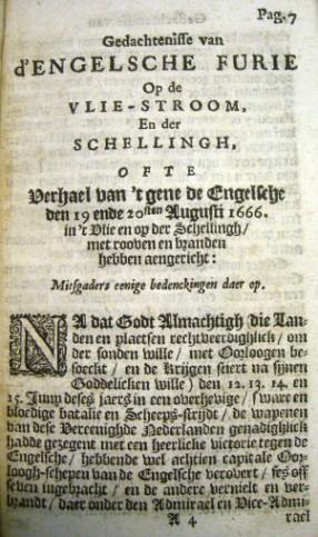 Pagina 7 van boek d'Engelsche Furie, een oogetuigenverslag van de de ramp van 1666