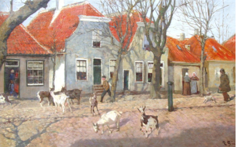 Schilderij van de Dorpsstraat van Vlieland anno 1896, met loslopende geiten