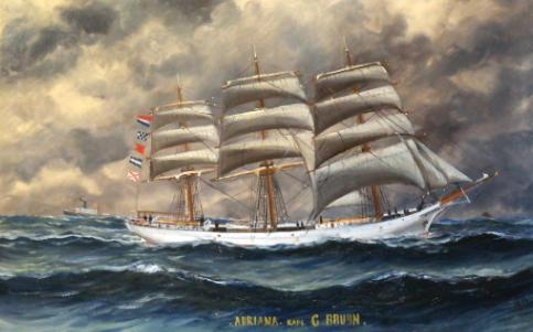 Schilderij van fregat Adriana van kapitein Gerrit Bruijn