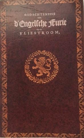Donkerrode kaft boekje met titel Gedachtenisse van d'Engelsche Furie Op de Vliestroom En der Schellingh geschreven door dominee Den Huessen