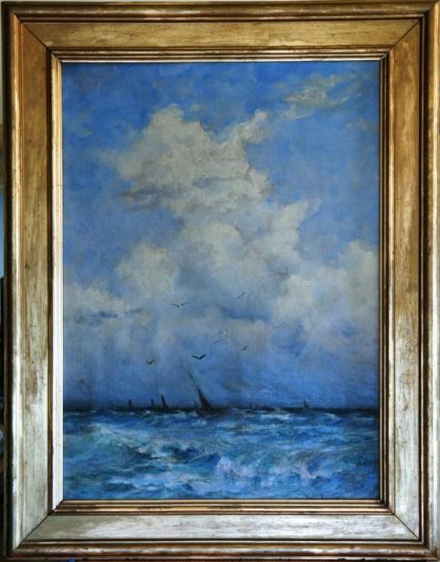 Schilderij van Betzy akersloot met een zelboot op zee op een zonnige dag