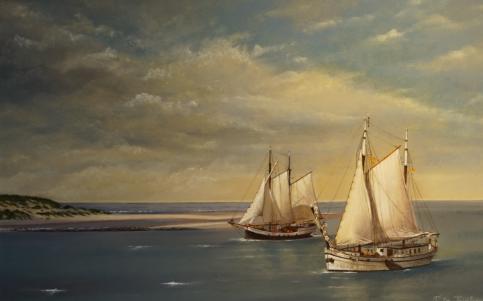 Schilderij van Rita teirlynck, voorstellende boten op het Wad