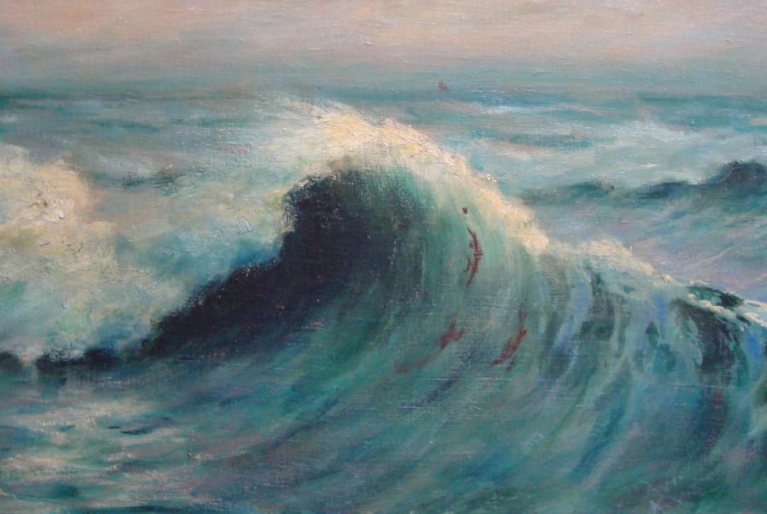 Schilderij Etude de vague waar Betzy een omslaande golf heeft geschilderd