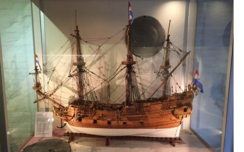 Foto van model van het fregat Geelvinck gebouwd door kapitein Jelle Horjus