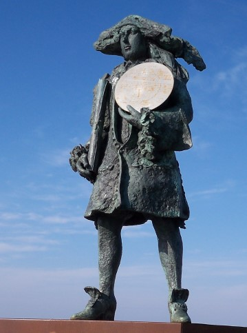 Standbeeld van Willem de vlamingh op het Veerplein van Vlieland